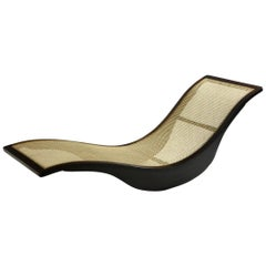 Contemporary Brazilian Chaise Longue by Igor Rodrigues in Hardwood and Cane