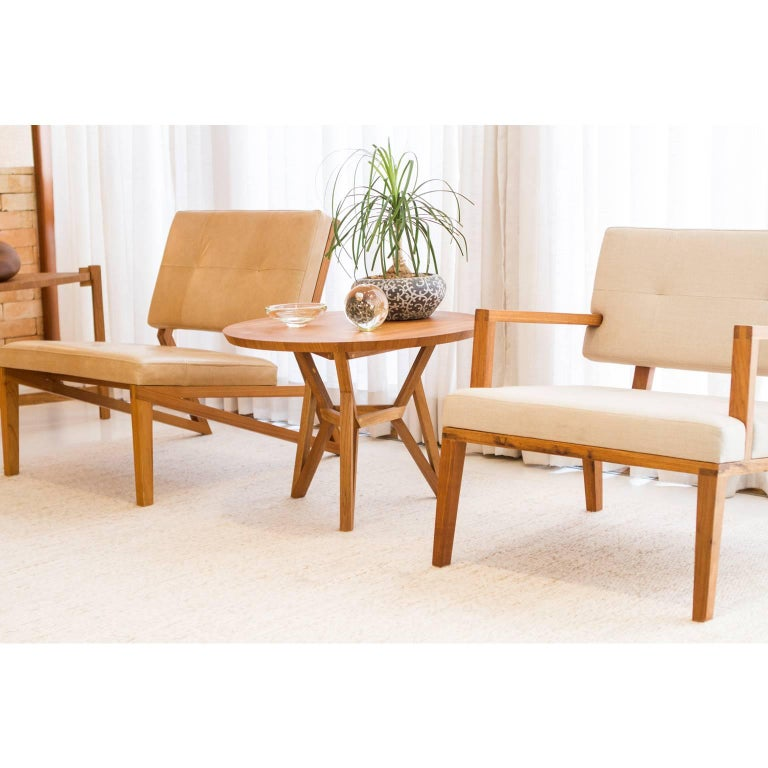 Modern Contemporary Brazilian Design Side Table Meló Made in Tropical Solid Wood For Sale