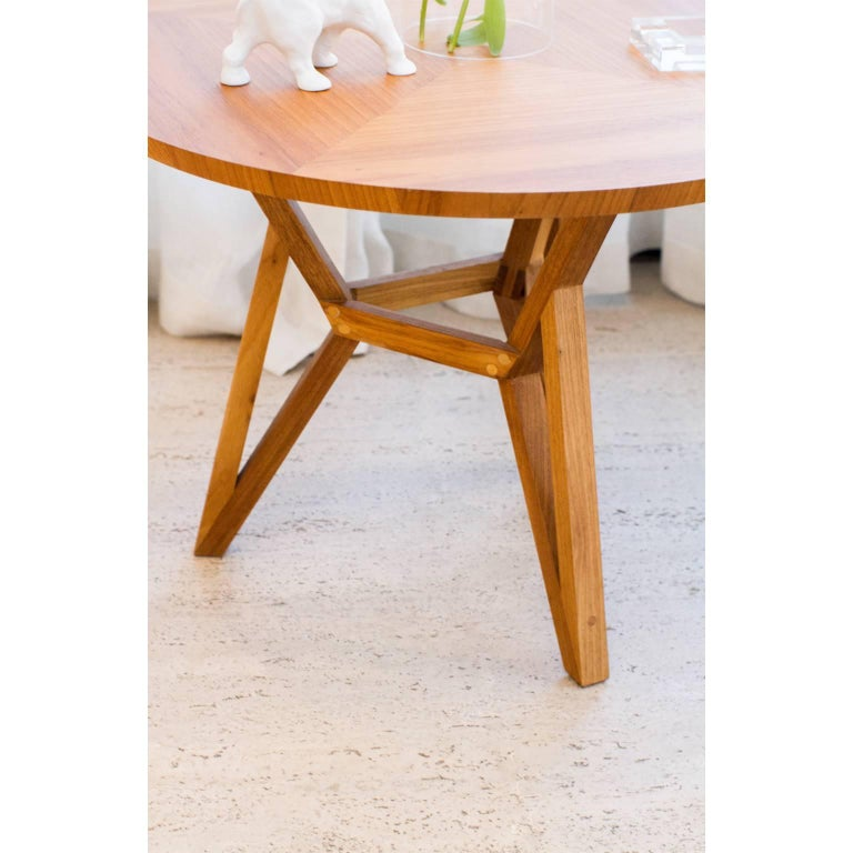 Contemporary Brazilian Design Side Table Meló Made in Tropical Solid Wood For Sale 1