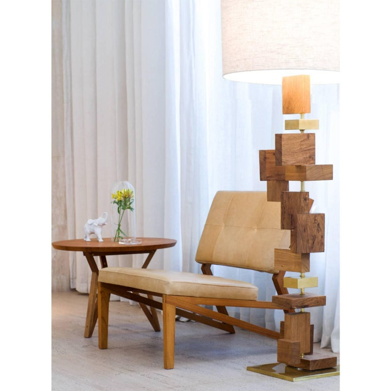 Contemporary Brazilian Design Side Table Meló Made in Tropical Solid Wood For Sale 3