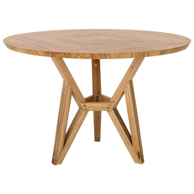 Contemporary Brazilian Design Side Table Meló Made in Tropical Solid Wood For Sale