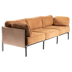 Contemporary Brazilian Sofa in Steel and Leather,´Sonia´ by Samuel Lamas