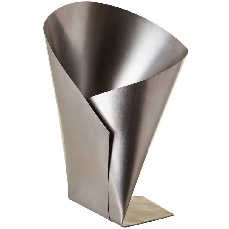 Origami Vase In Stainless Steel Contemporary Brazilian Style