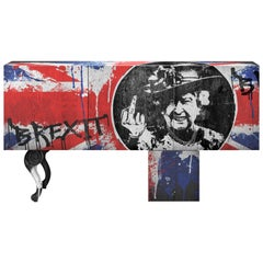Contemporary Brexit Sideboard or Credenza with Graffiti Art and Oak Veneer