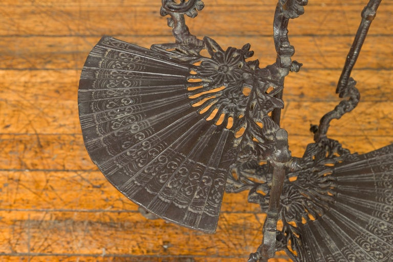 Contemporary Bronze Display Stand with Fan Shelves and Rococo Style Scrolls For Sale 2