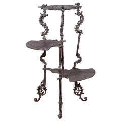 Contemporary Bronze Display Stand with Fan Shelves and Rococo Style Scrolls