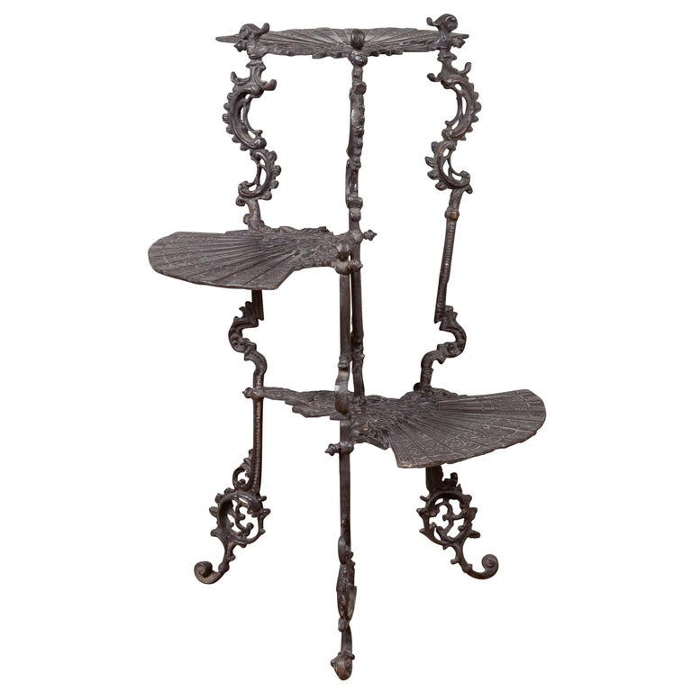 Contemporary Bronze Display Stand with Fan Shelves and Rococo Style Scrolls For Sale