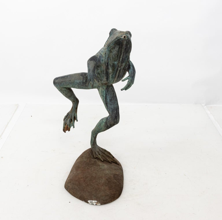 Contemporary bronze frog fountain with base. Please note of wear consistent with age and exposure to the elements including oxidation.