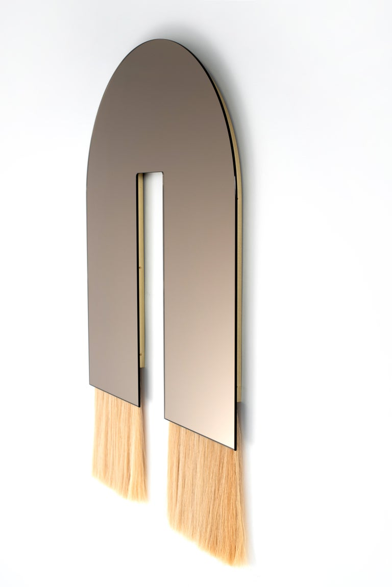 American Contemporary Bronze Mirror with Horsehair, Vos Mirror by Ben & Aja Blanc For Sale