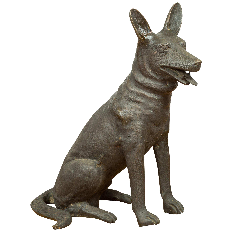 Contemporary Bronze Sculpture Depicting a German Shepherd with Dark Patina