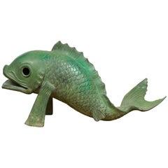 Contemporary Bronze Swimming Carp Sculpture with Verde Patina