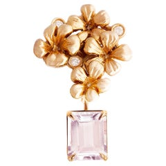 Contemporary Brooch in 18 Karat Rose Gold with Natural Morganite and Diamonds