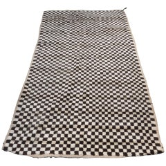 Contemporary Brown and Beige Checked Beni Ouarain Moroccan Berber Rug