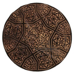 Cowhide Brown and Beige Circle Rug