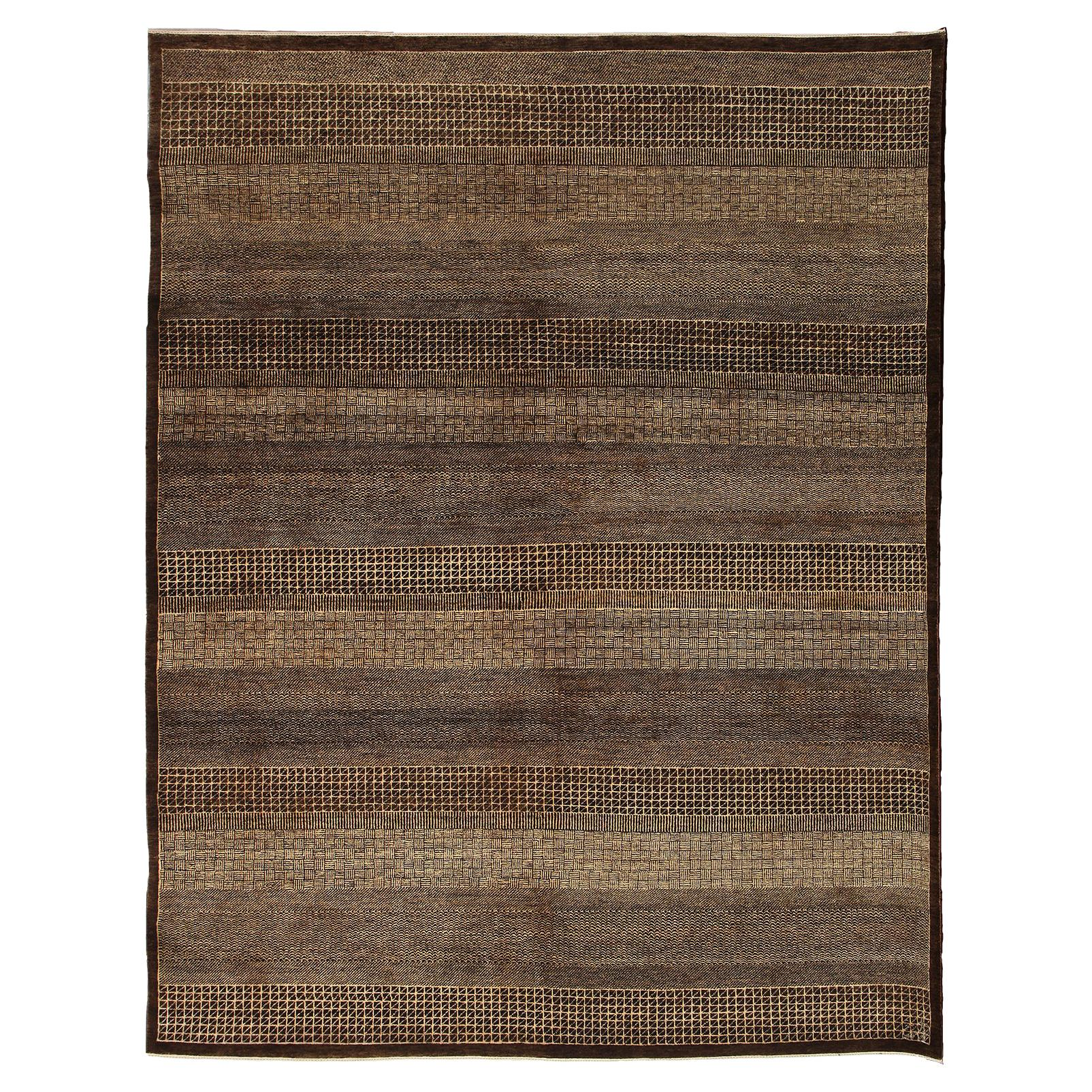 Contemporary Brown and Cream Minimalist Persian Carpet