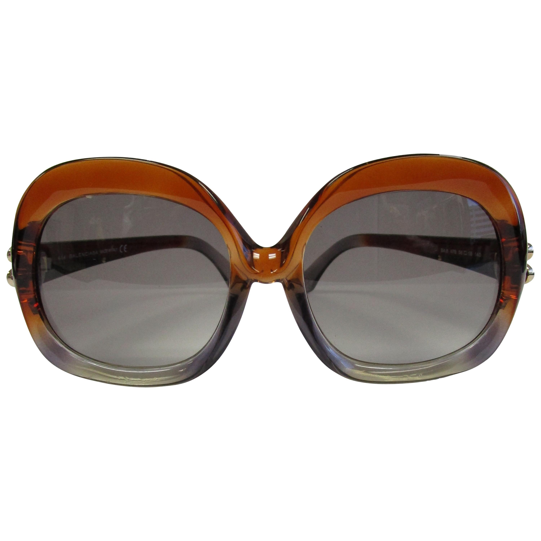 Contemporary Brown and Grey Over-sized Balenciaga Sunglasses