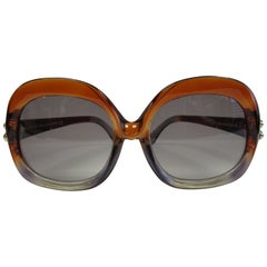 Contemporary Brown and Grey Over-sized Balenciaga Sunglasses
