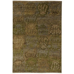 Contemporary Brown, Beige, Gray and Green Swedish Inspired Wool Rug