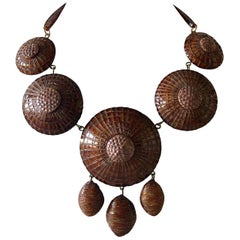 "Contemporary Brown French Architectural Statement Necklace ""Collier"""