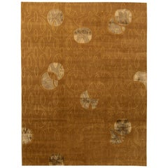 Contemporary Brown and Gray Hand Knotted Wool Rug