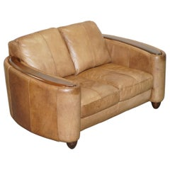Contemporary Brown Leather Art Deco Style Club Sofa Matching Armchairs Available
