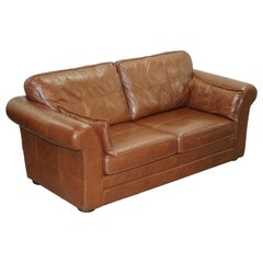 Contemporary Brown Leather Large Comfortable Three Seat Sofa Part of Large Suite