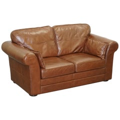Contemporary Brown Leather Large Comfortable Two Seat Sofa Part of Large Suite