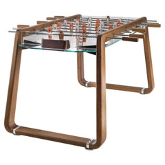 Contemporary Brown Oak Foosball Table with Glass Playing Field by Impatia