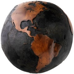 Contemporary Brulee, HB Globe Teak Root with Burnt Finishing 30cm, Saturday Sale