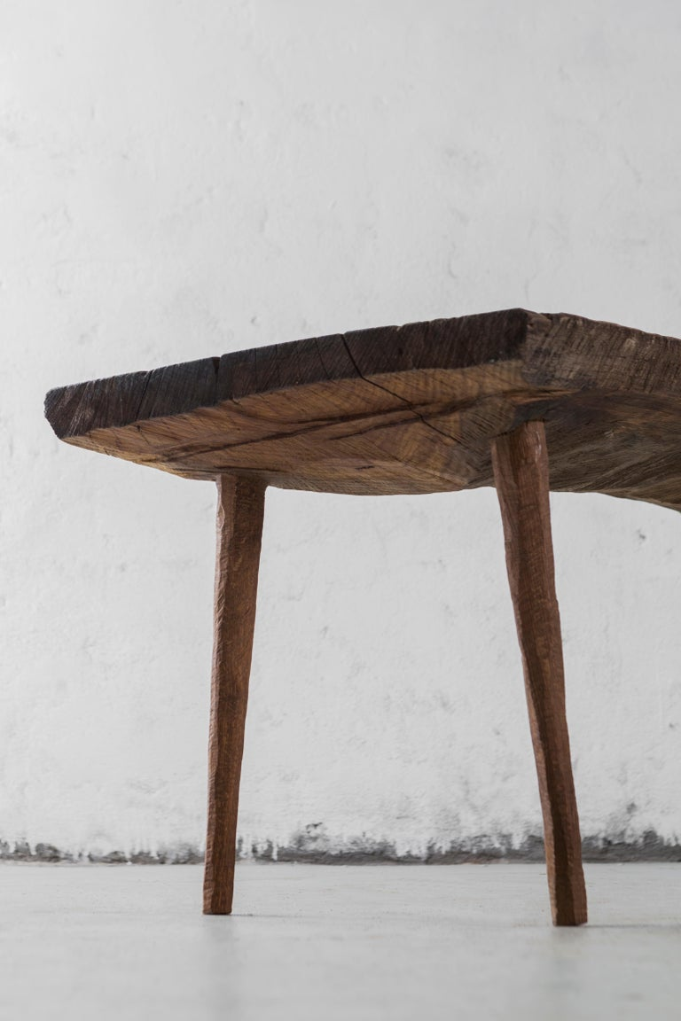 Small table made of solid oak (+ linseed oil) Measures: 50 x 123 x 45 cm  Warm furniture's made by Russian designers from