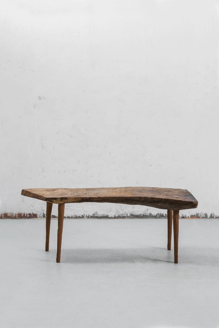 Russian Contemporary Brutalist Style Small Table #5 in Solid Oak and Linseed Oil For Sale