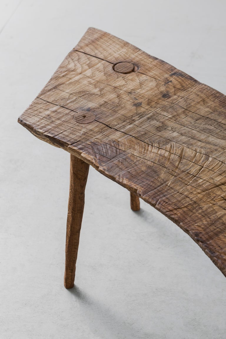 Contemporary Brutalist Style Small Table #5 in Solid Oak and Linseed Oil In New Condition For Sale In Paris, FR