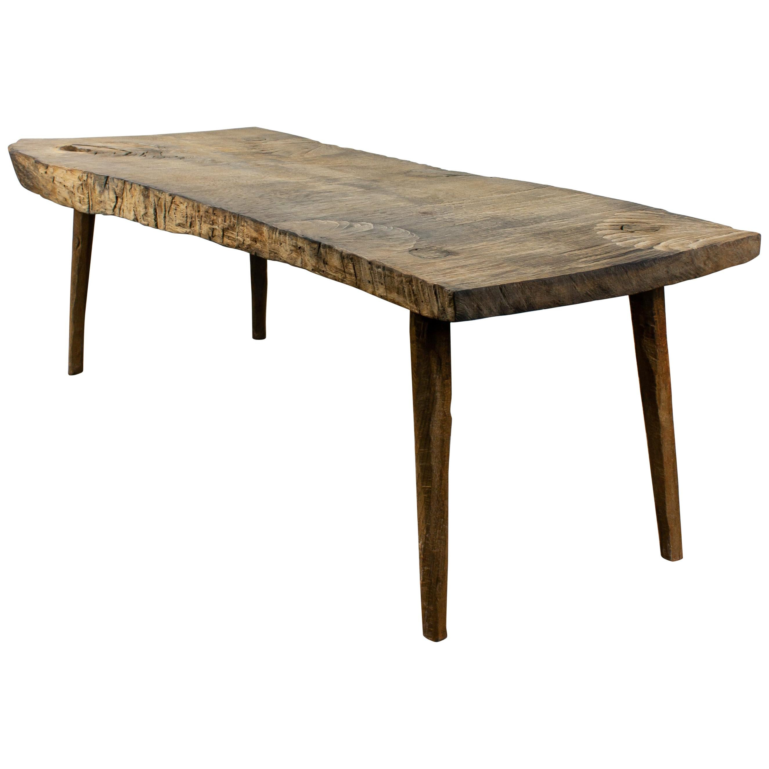 Contemporary Brutalist Style Small Table #6 in Solid Oak and Linseed Oil