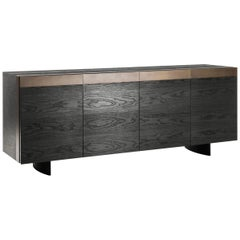 Contemporary Buffet in Solid Oak, Aged Bronze Iron Frame
