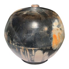 Hand Crafted Contemporary Burnished Barrel Fired Round Ceramic Vessel Sculpture