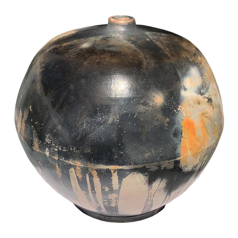 Hand Crafted Contemporary Burnished Barrel Fired Round Ceramic Vessel Sculpture  For Sale