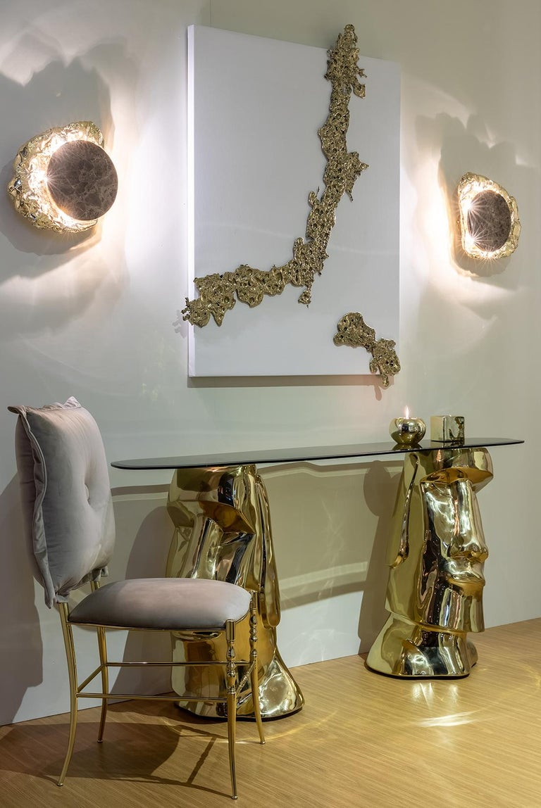 21st Century Moai Console Table in Polished Brass Cast and Bronze Tempered Glass In New Condition For Sale In Oporto, PT