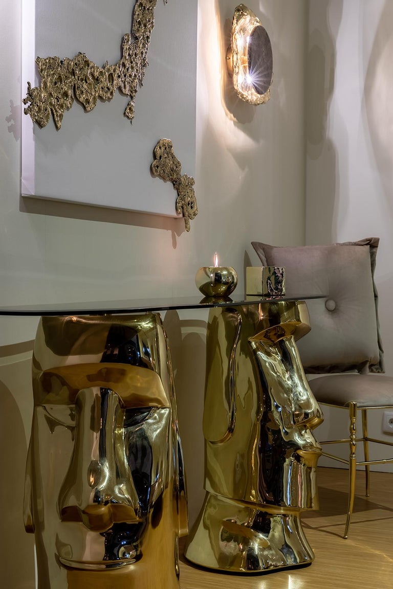 Contemporary 21st Century Moai Console Table in Polished Brass Cast and Bronze Tempered Glass For Sale