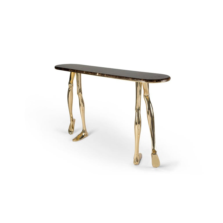 """1. Product description:  The """"Monroe"""" console table is made of polished brass cast with a Brown Emperador Italian marble complementing the set. After smelting, a process known for thousands of years widely used in brass and bronze sculptures and"""