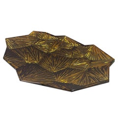 Contemporary by Ghirò Studio 'Amber' Artistic Bowl Amber and Gold Crystal