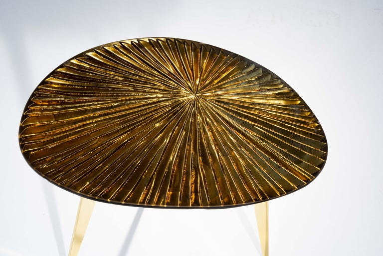 Modern Contemporary by Ghirò Studio 'Ambra' Coffee Table Amber Cristal and Brass For Sale