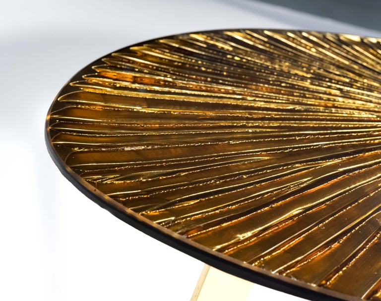 Italian Contemporary by Ghirò Studio 'Ambra' Coffee Table Amber Cristal and Brass For Sale