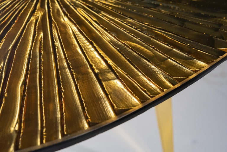 Hand-Carved Contemporary by Ghirò Studio 'Ambra' Coffee Table Amber Cristal and Brass For Sale