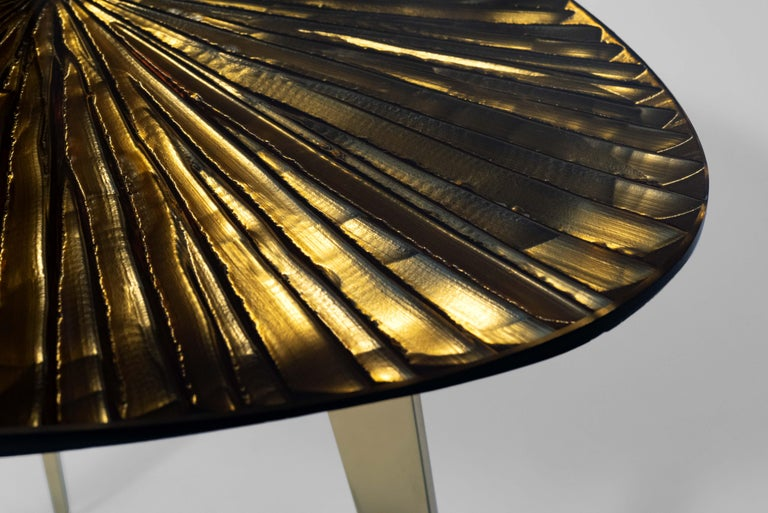 Contemporary by Ghirò Studio 'Ambra' Coffee Table Amber Cristal and Brass In New Condition For Sale In Pieve Emanuele, Milano
