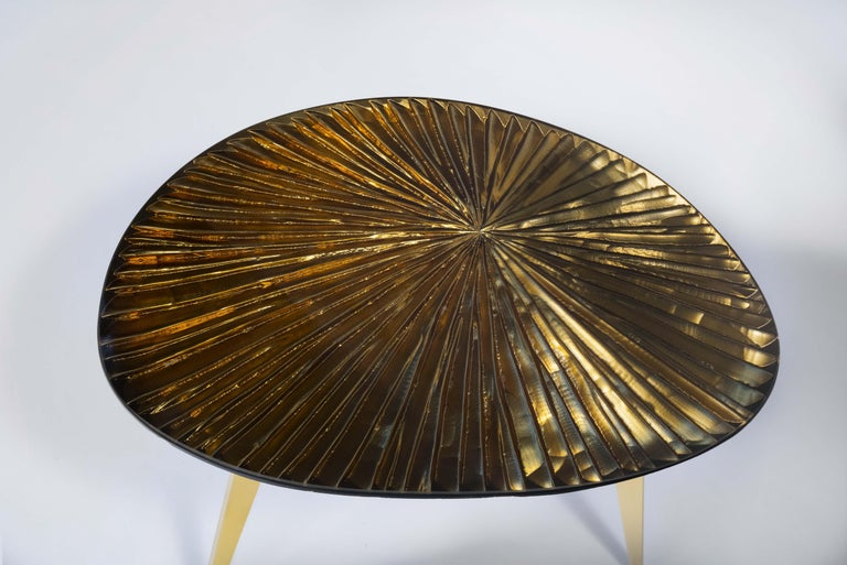 Contemporary by Ghirò Studio 'Ambra' Coffee Table Amber Cristal and Brass For Sale 1