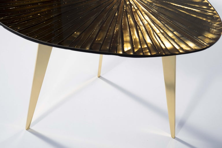 Contemporary by Ghirò Studio 'Ambra' Coffee Table Amber Cristal and Brass For Sale 2