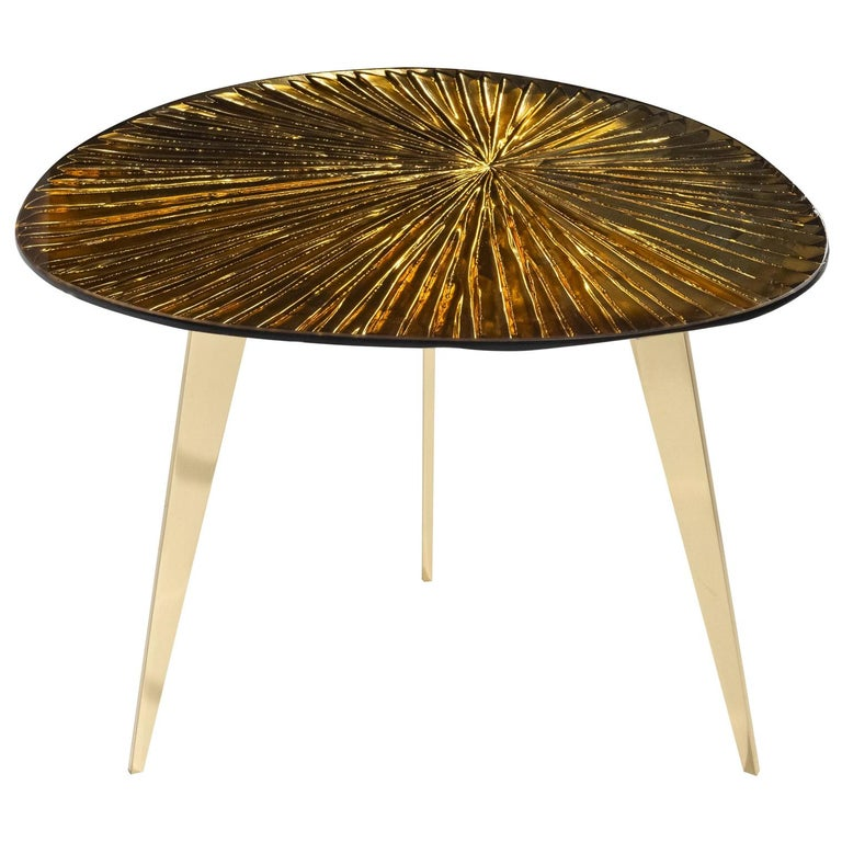 Contemporary by Ghirò Studio 'Ambra' Coffee Table Amber Cristal and Brass For Sale