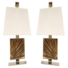 Contemporary by Ghirò Studio 'Ambra' Set of Two Table Lamps Crystal and 24ktGold
