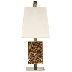 Contemporary by Ghirò Studio 'Ambra' Table Lamp Amber Crystal, Brass and Gold