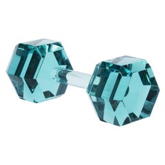Contemporary by Ghirò Studio 'Dumbbell' Aquamarine Crystal Handmade in Italy